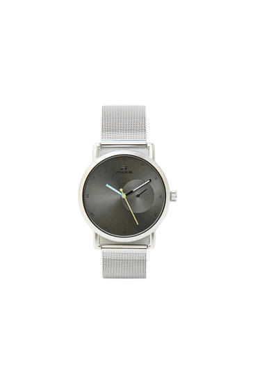 Silver-toned mesh strap watch