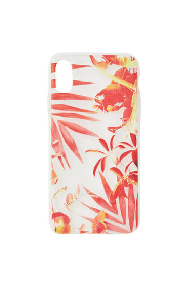 Smartphone case with orange leaf print