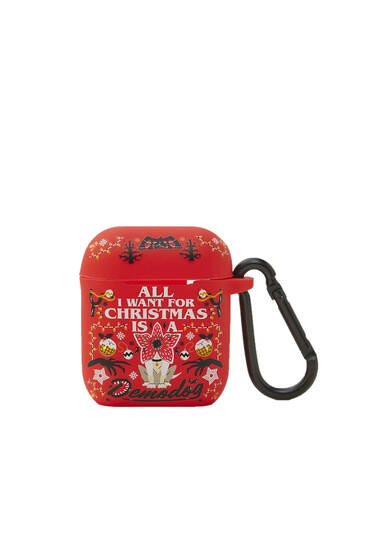 Airpods case with Stranger things Christmas details
