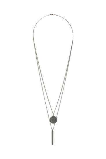 Pack of silver-coloured necklaces with pendants