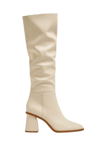 Knee-high boots with square toe - PULL\u0026BEAR