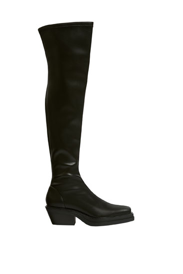 Stretch square toe boots