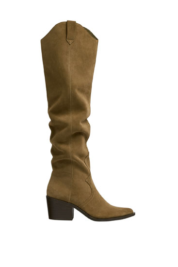 Split suede cowboy over-the-knee boots