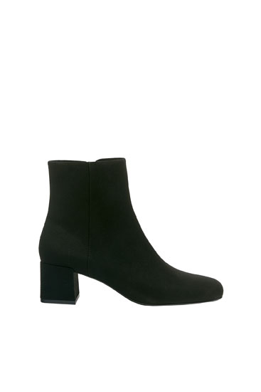 High-heel ankle boots with square toe