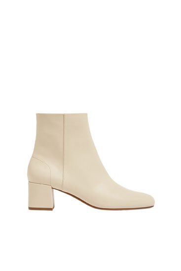 Heeled square-toe ankle boots