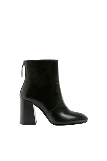High-heel ankle boots with zip detail