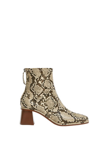 Square toe animal print ankle boots