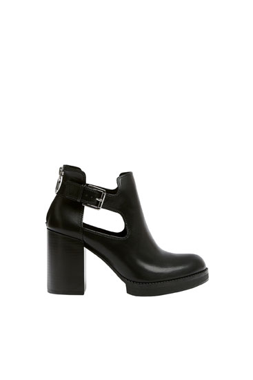 Cut-out high-heel ankle boots