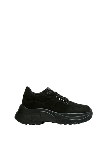 Monochrome chunky sole trainers