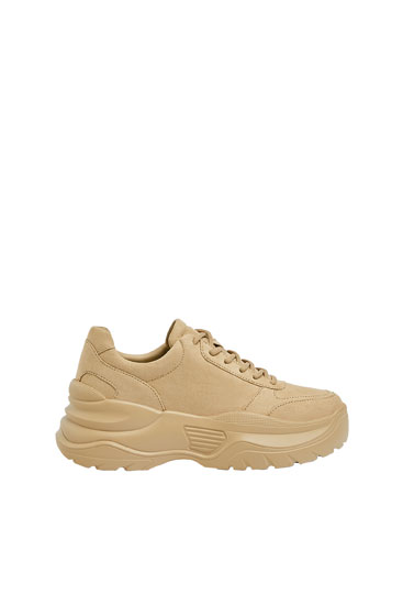 Sand-coloured monochrome chunky-sole trainers