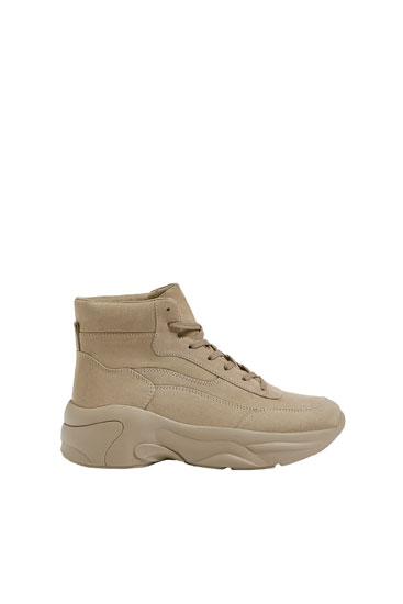 Sand-coloured high-top trainers