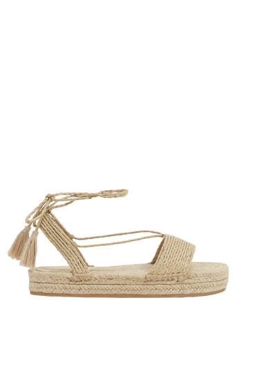 Tie-up natural jute espadrilles