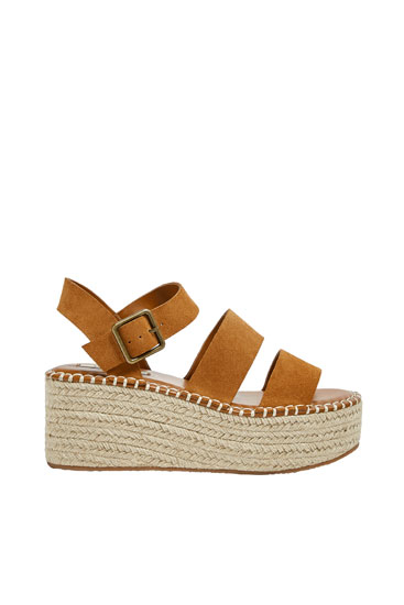 Brown leather jute wedge sandals