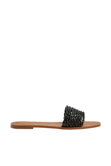 Braided black sliders