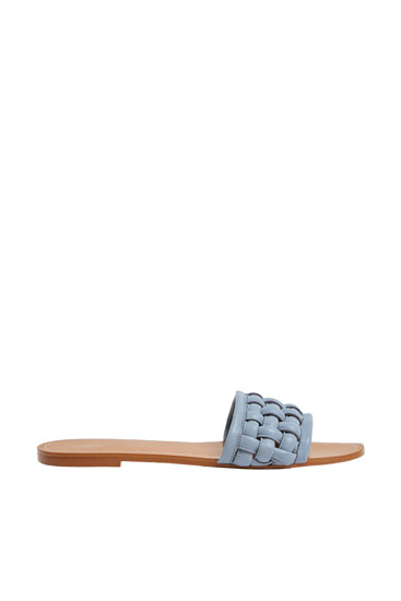Flat braided leather sandals