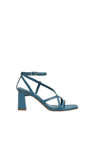 Strappy blue high-heel sandals