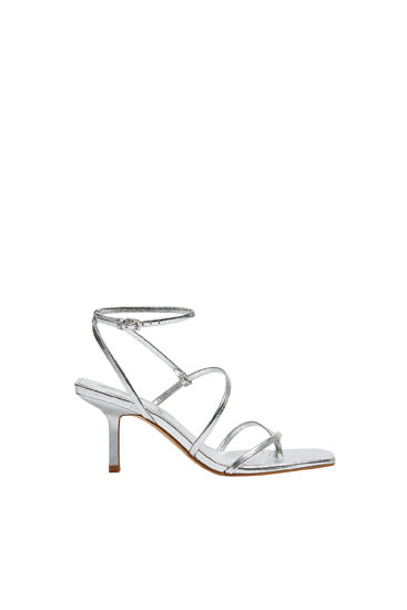 Strappy silver high-heel sandals