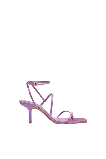Strappy satin-finish high heel sandals