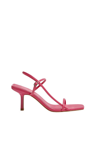 Strappy fuchsia high-heel sandals