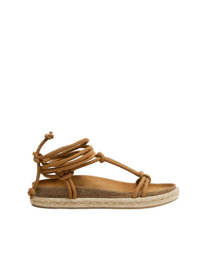 Beige tied footbed sandals