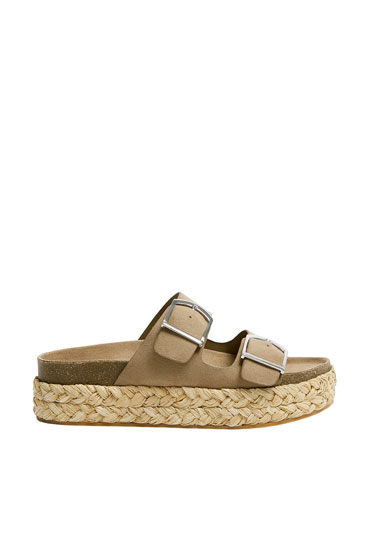 Plaited beige molded footbed shoes