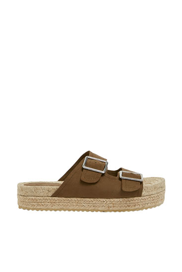 Jute footbed sandals with buckles