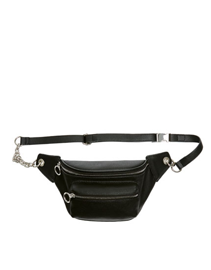 Black belt bag with chain