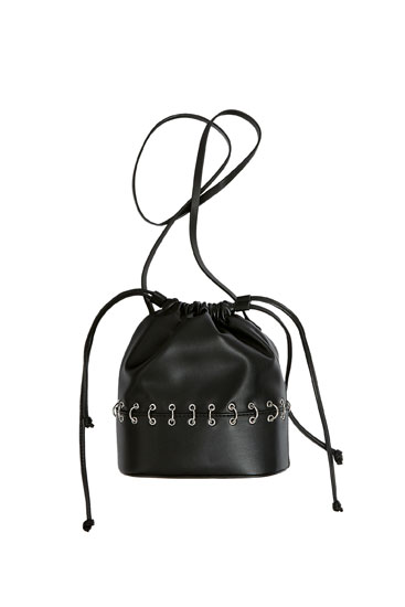Bucket bag with grommets