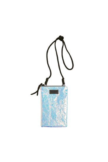 Iridescent crossbody mobile phone pouch