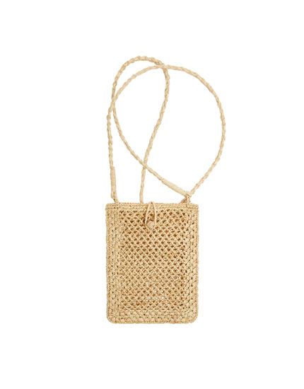 Beige raffia mobile phone bag