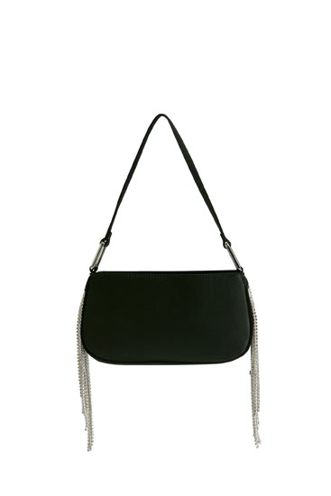 Shoulder bag featuring fringing with rhinestone detail