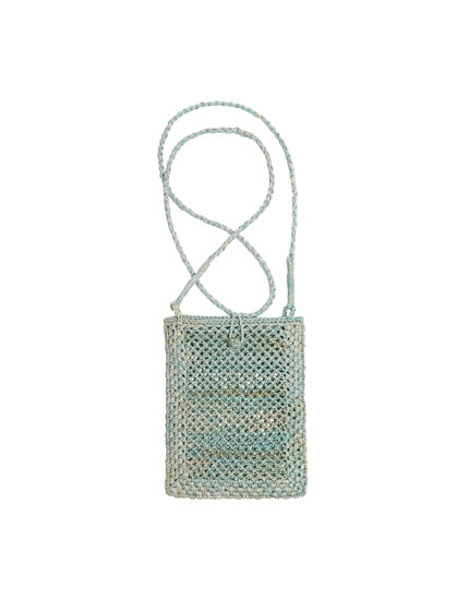 Blue raffia mobile phone bag