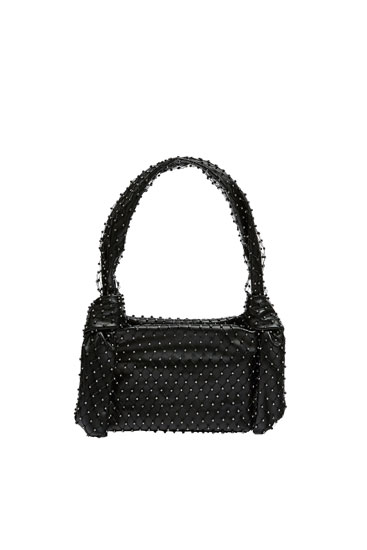 Mini tote bag with rhinestone detail
