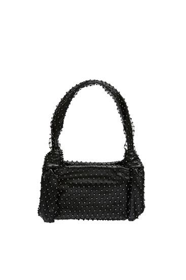 Μίνι τσάντα shopper με γυαλιστερές λεπτομέρειες
