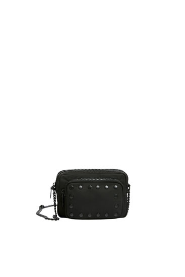 Fabric crossbody bag with studs
