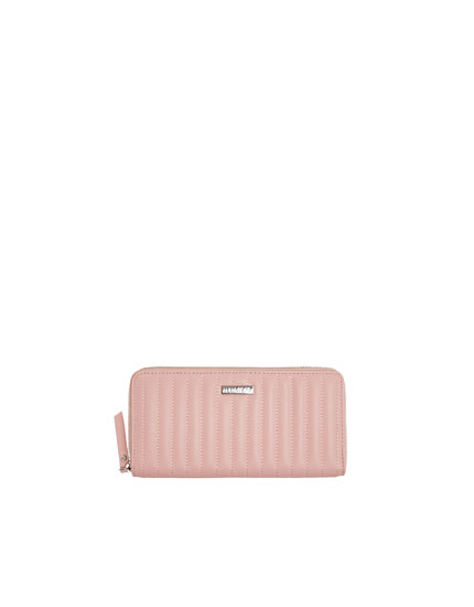 Topstitched pink purse