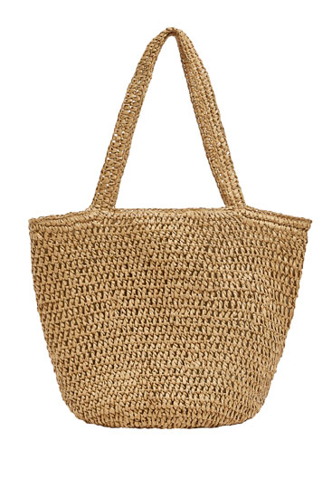 Woven beige tote bag