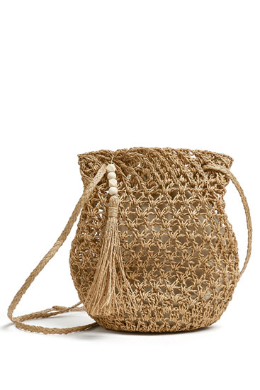 Natural paper bucket bag