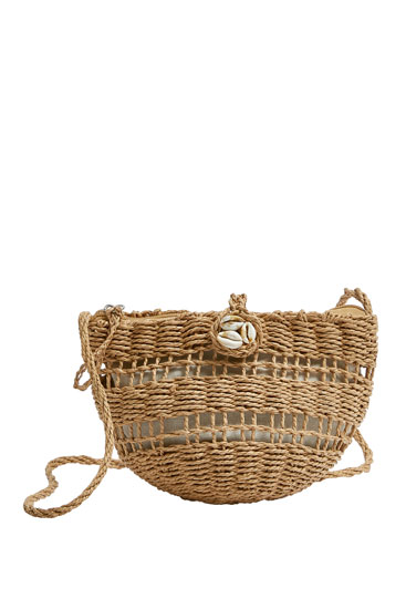 Raffia crossbody bag with seashell detail