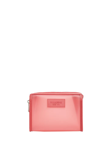 Transparent pink toiletry bag