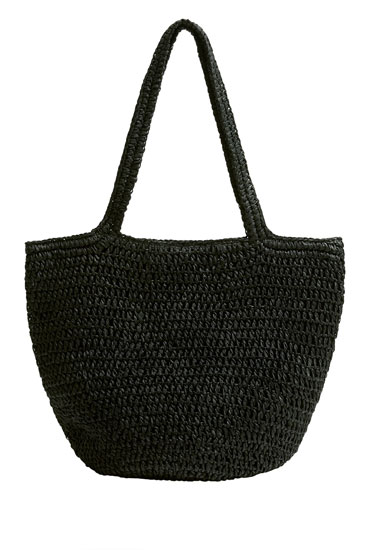 Black braided tote bag