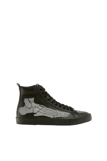 High-top trainers with skeleton detail