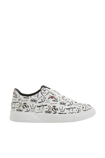 All-over graffiti print trainers