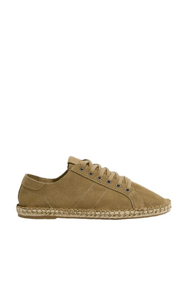 Leather espadrilles with jute soles