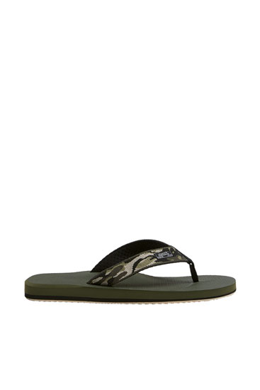 Camouflage print sandals