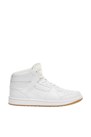 White high-top basketball trainers