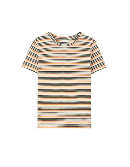 T-shirt with multicoloured horizontal stripes