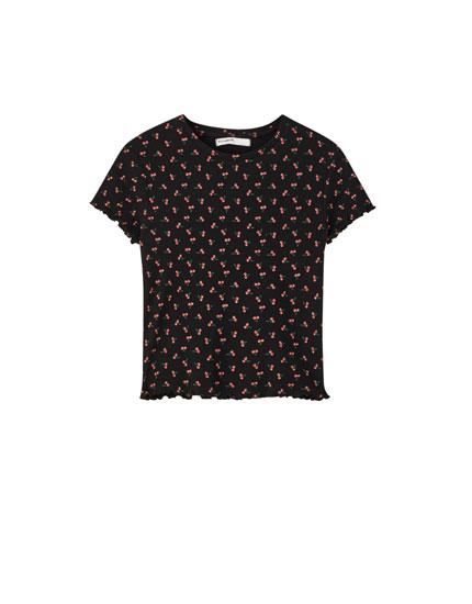 T-shirt gaufré imprimé aux bords cannelés