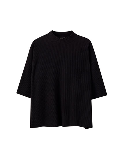Oversize ribbed mock neck T-shirt