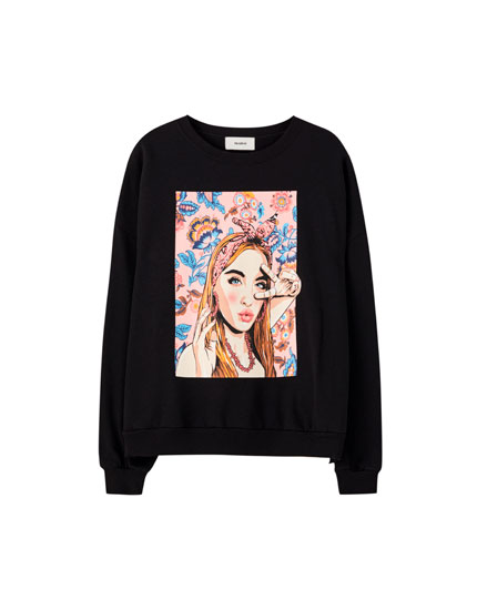Black sweatshirt with girl illustration